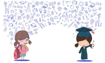 Concept of education Schoolgirl and girl graduated pupils back to school background design vector.