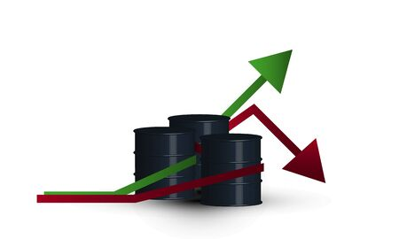 World oil prices go up and down isolated vector