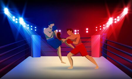 Boxer knocking out at Boxing ring arena and spotlight vector design. Фото со стока - 146844725