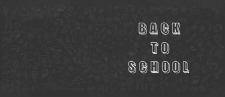 Concept of education School background with different stuff from notepad paper and back to school design vector.
