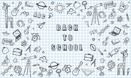 Concept of education School background chalkboard with different stuff. Welcome back to school design vector.