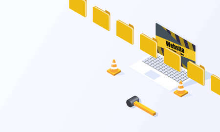 Website under construction page flat isometric isolated on white background vector design Ilustração