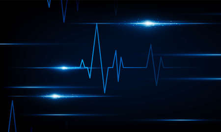 abstract technology lights dark backdrop with Arrow Light Coronavirus Blue Heart pulse monitor with signal. Heart beat. icon. Hitech communication. Coronavirus Infection Ilustração