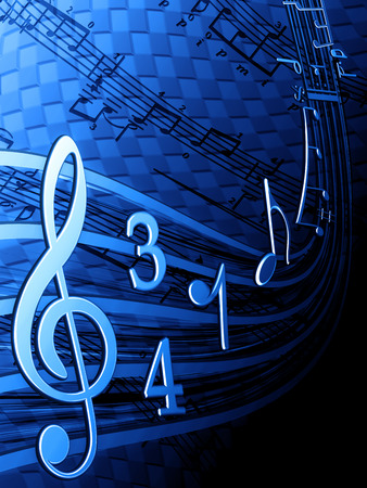 Illustration of musical notes on a blue background Stock Photo