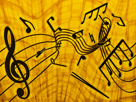 on a yellow background shows the musical notes scattered in a chaotic manner