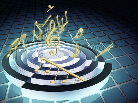 Image rotating in a spiral of music notes around the treble clef