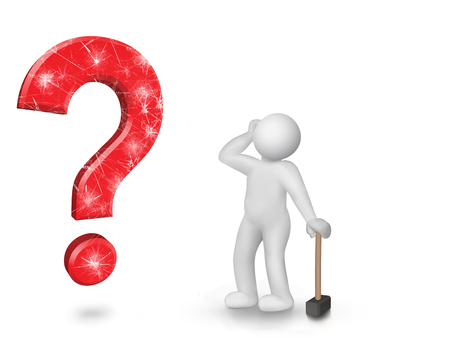 question mark indicates that a person can not solve the problem Stock Photo