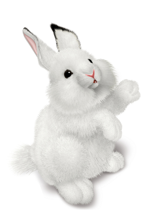 drawing by a small gray rabbit isolated on a white background