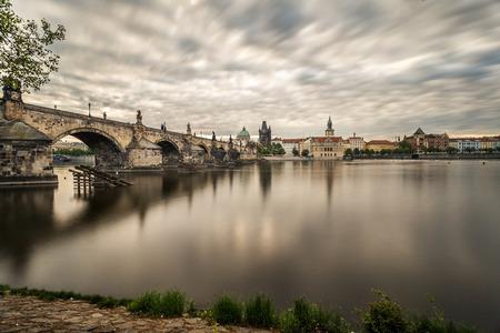 View of Charles Bridge from Kampa with long exposure, Prague