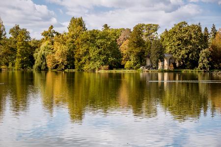 Lednice castle with monumental garden English park. Cultural landscape of Lednice-Valtice. South Moravia, Czech Republic. UNESCO World Heritage