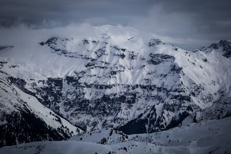 Panorama with dramatic sky, Alps in Flaine area, Grand Massif, France