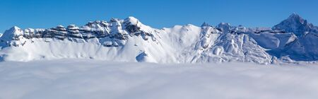 Snowy winter French Alps, ski resort Flaine, Grand Massif area within sight of Mont Blanc, Haute Savoie, France Stock Photo