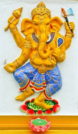 low relief: Ganesh at Samarn temple in Chachoengsao, Thailand