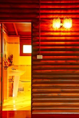 Toilets wood in bangkok thailand photo