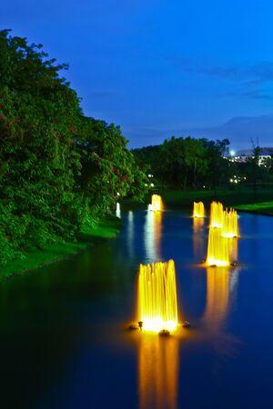 Fountain evening park in bangkok thailand Stock Photo - 10607557