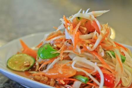 green papaya salad: Food thailand papaya  Stock Photo