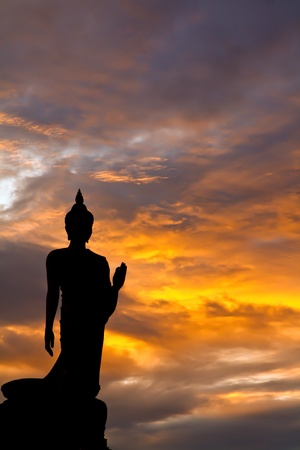 Buddha sunset in thai thailand