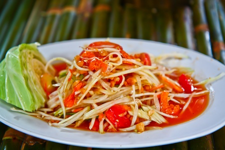 green papaya salad: Green papaya salad thailand Stock Photo