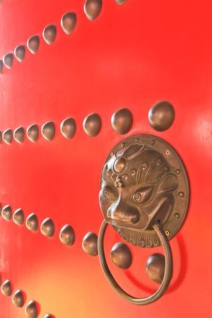 Door temple china in nonthaburi thailand photo