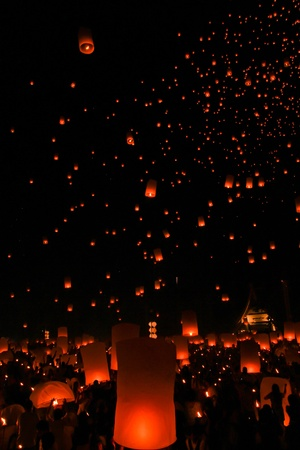 Yeepeng festival at the North of Thailand photo