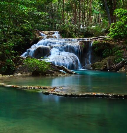 Waterfall at Kanchanaburi in Thailand photo