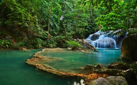 cascades: Waterfall at Kanchanaburi in Thailand