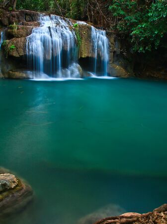 Waterfall at Kanchanaburi in Thailand photo