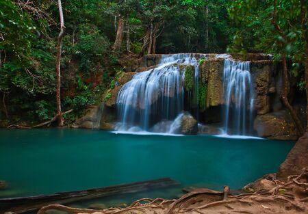 Waterfall at Kanchanaburi in Thailand Stock Photo - 12231318