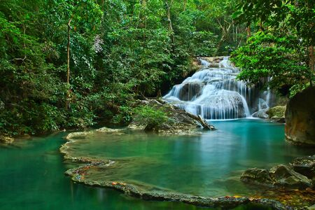 Waterfall at Kanchanaburi in Thailand Stock Photo - 12231316