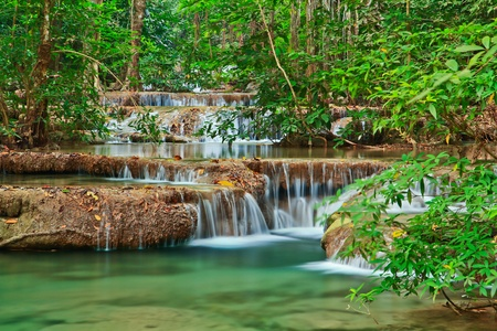 Waterfall at Kanchanaburi in Thailand