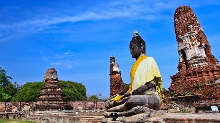 Buddha statue at Ayutthaya in Thailand photo