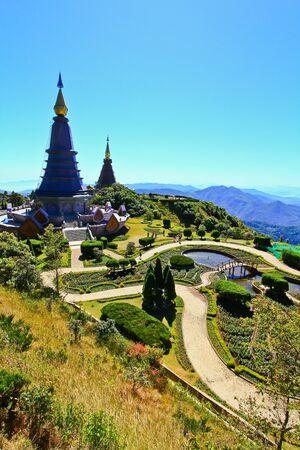 doi: Pagoda Doi Inthanon in thailand