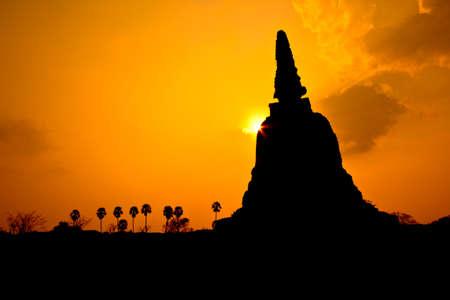 Old temple sunset ayutthaya in thailand photo