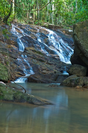 waterfall in the forest in thailand photo