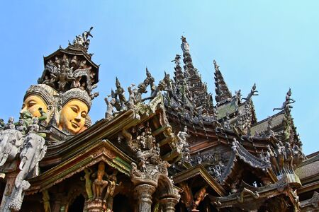 Sanctuary of Truth temple in thailand photo