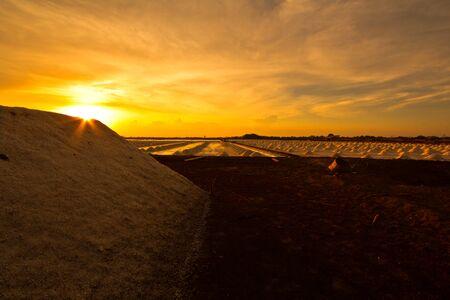 sunset at salt pan  Stock Photo - 13691105
