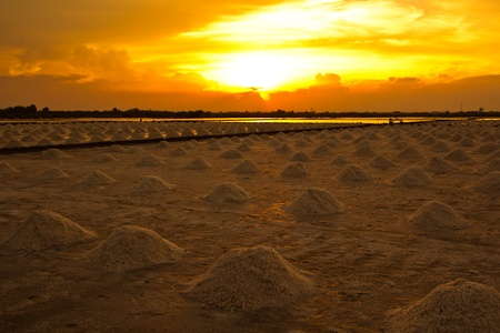 sunset at salt pan  Stock Photo - 13691245