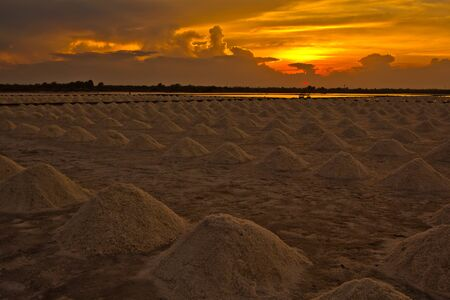 sunset at salt pan  photo