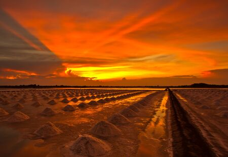 sunset at salt pan  Stock Photo - 13690711