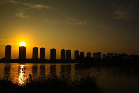 bangkok night:  city sunset