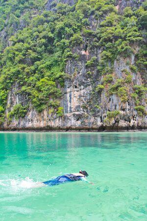 Swimming Koh Phi Phi island in thailand photo