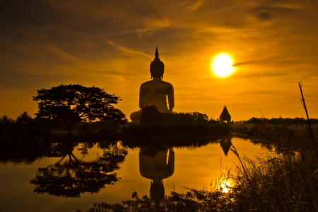 Big buddha sunset statue at Wat muang, Thailand
