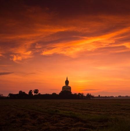 Big buddha sunset statue at Wat muang, Thailand  photo
