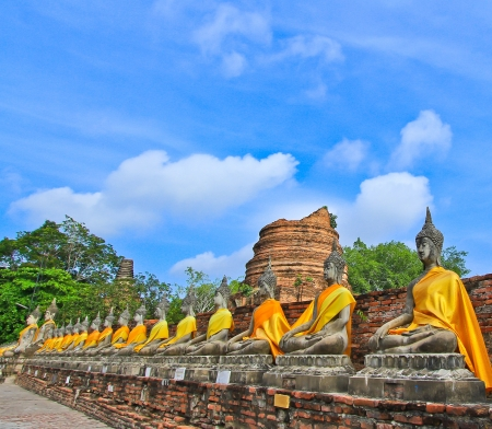 venerate: old buddha  temple in ayutthaya thailand