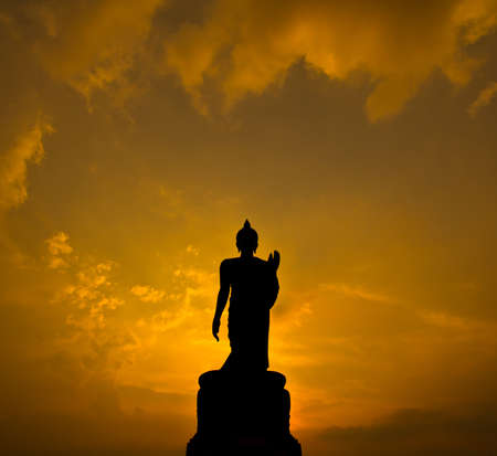 buddha  sunset in thailand photo