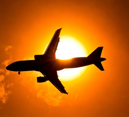 aircraft take off: Aircraft Sunset  Stock Photo