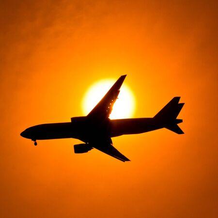 air port: Aircraft Sunset  Stock Photo
