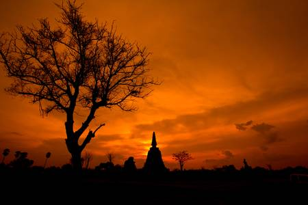 sunset countryside buddha thailand photo