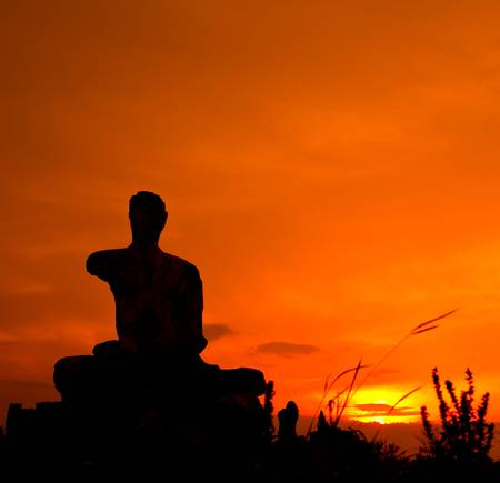 sunset countryside buddha thailand photo