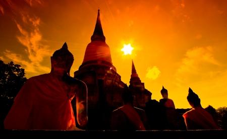 ayuthaya: sunset old Temple Wat Yai Chai Mongkhon of Ayuthaya Province Thailand